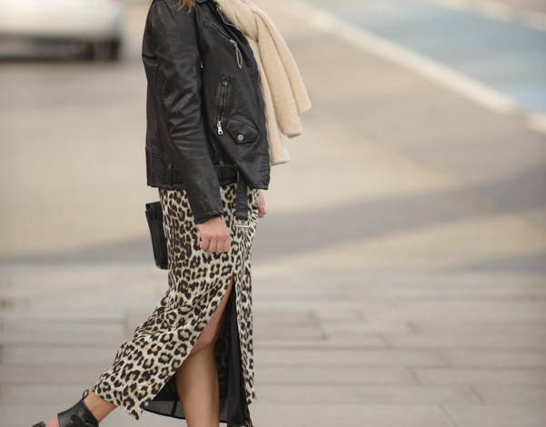 gladiators, leopard dress, black leather jacket
