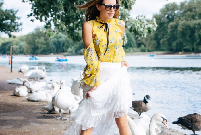 as seen on me, asos shoulder cut out blouse, white ruffle lace skirt, thierry lasry, saint laurent babies shoes