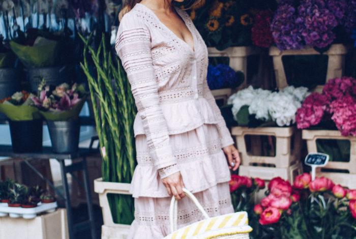 love shack fancy cotton dress and basket