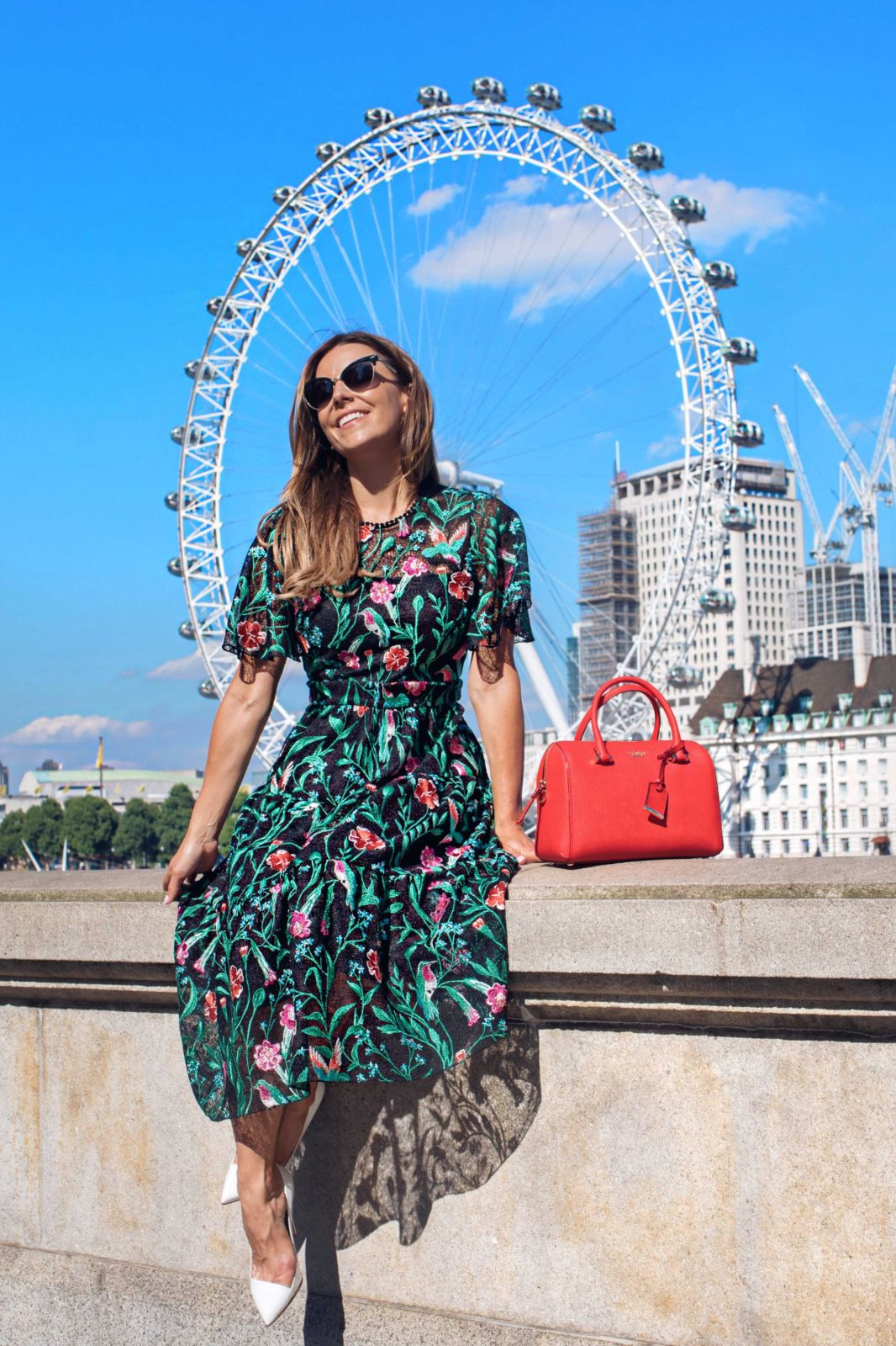 kate spade, embroidered dress, london eye